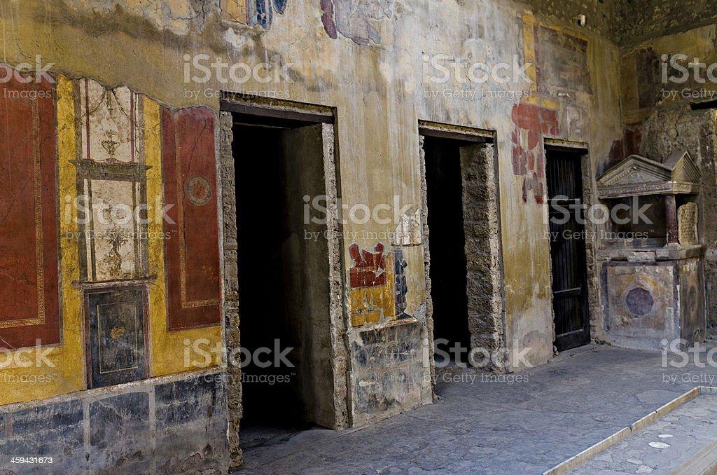 Fresco in Pompeii house stock photo