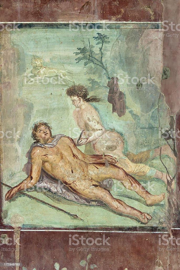 Fresco in Pompeii royalty-free stock photo
