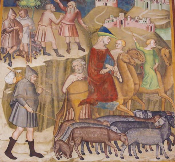 fresko in san gimignano - abraham und lot - trennungssprüche stock-fotos und bilder