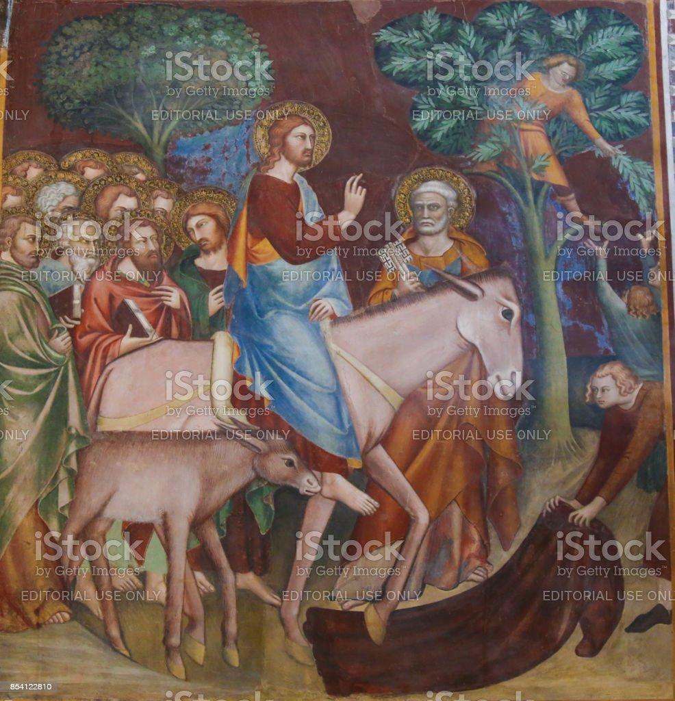 Fresco in San Gimignano - Jesus enters Jerusalem stock photo