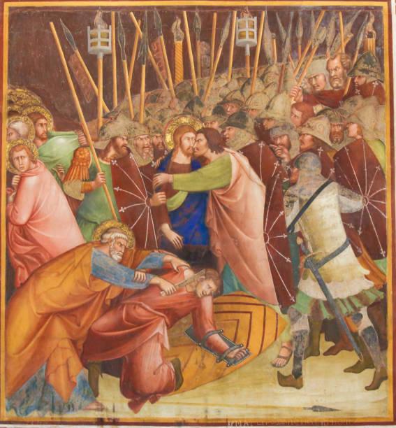 Fresco in San Gimignano - Kiss of Judas stock photo