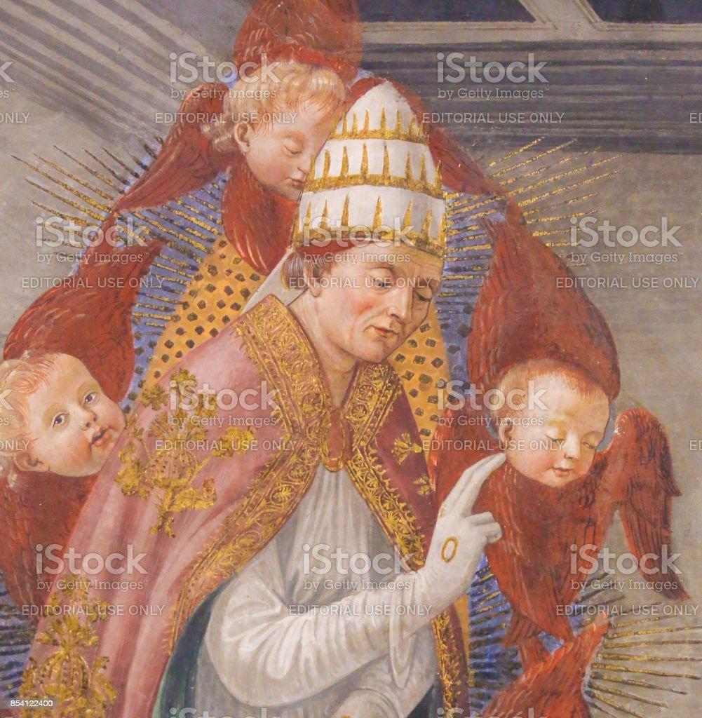 Fresco in San Gimignano - Saint Gregory the Great stock photo