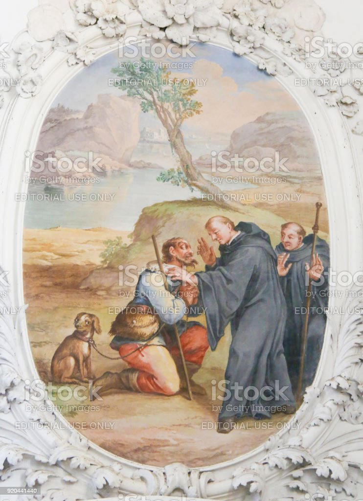 Fresco in St Mang Basilica in Fussen, Bavaria, Germany stock photo