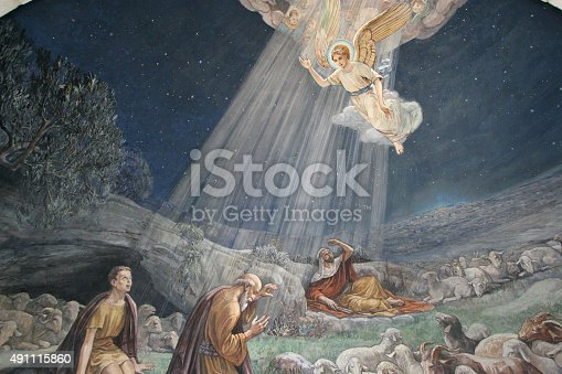 istock Fresco in the Shepherds' Fields Church, Bethlehem 491115860