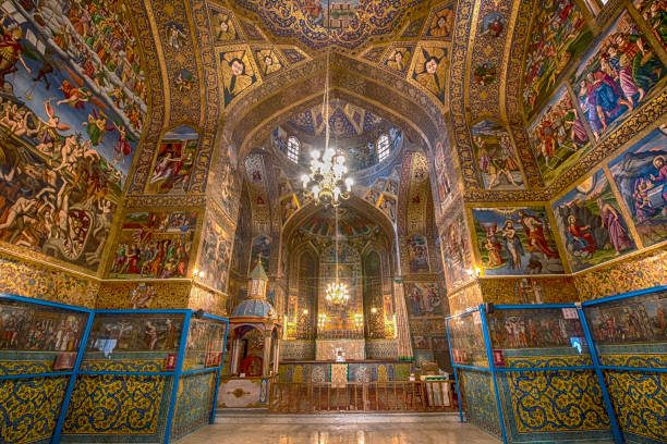 Fresco inside of Vank Cathedral in Isfahan, Iran Interior decor (frescos) Vank Cathedral or Holy Savior Cathedral  of the Armenian Apostolic Church (this is the national church of the Armenian people, it is part of the Oriental Orthodoxy and is one of the most ancient Christian communities). Location: Isfahan, Iran.  NOTE FOR INSPECTOR - THIS IS NOT A MUSEUM, it is public church which was built and decorated 400 years ago! There is no entrance fee to visit this church! armenian culture stock pictures, royalty-free photos & images