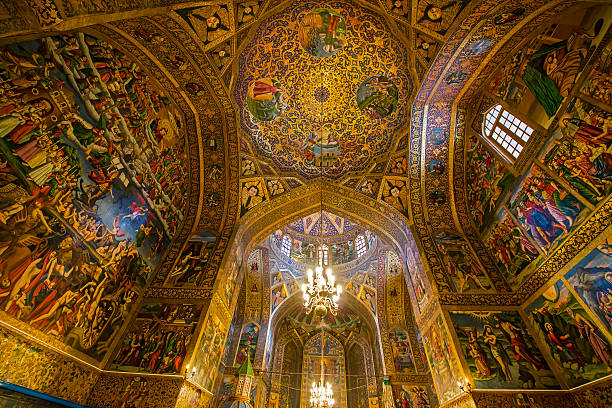 Fresco inside Vank Cathedral in Isfahan, Iran Interior decor (frescos) Vank Cathedral or Holy Savior Cathedral  of the Armenian Apostolic Church (this is the national church of the Armenian people, it is part of the Oriental Orthodoxy and is one of the most ancient Christian communities). Location: Isfahan, Iran.  armenian culture stock pictures, royalty-free photos & images
