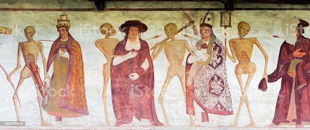 Fresco Macabre Dance - Pinzolo Trento Italy stock photo