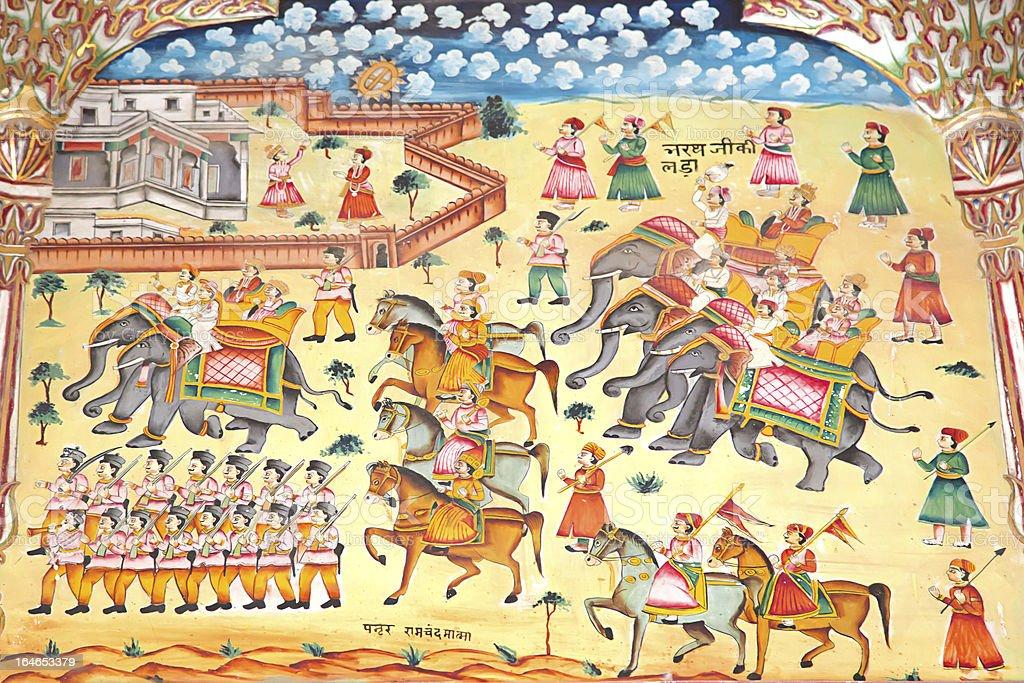 Fresco of army,Laxmi Nath Temple, Bikaner India stock photo