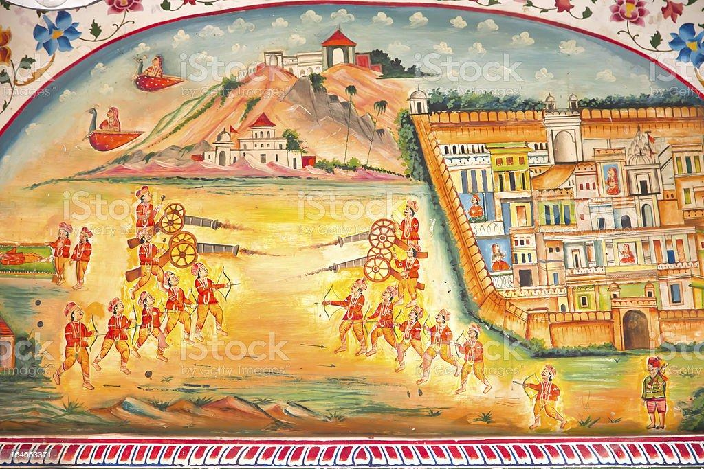 Fresco of battle, Laxmi Nath Temple, Bikaner India stock photo