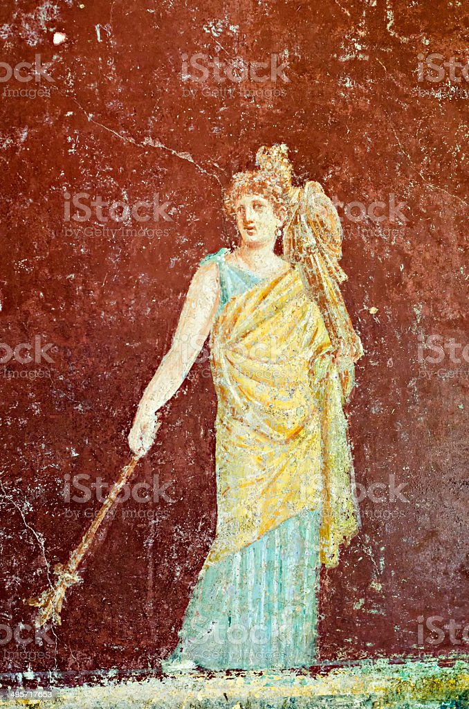 Fresco of God Mercury stock photo