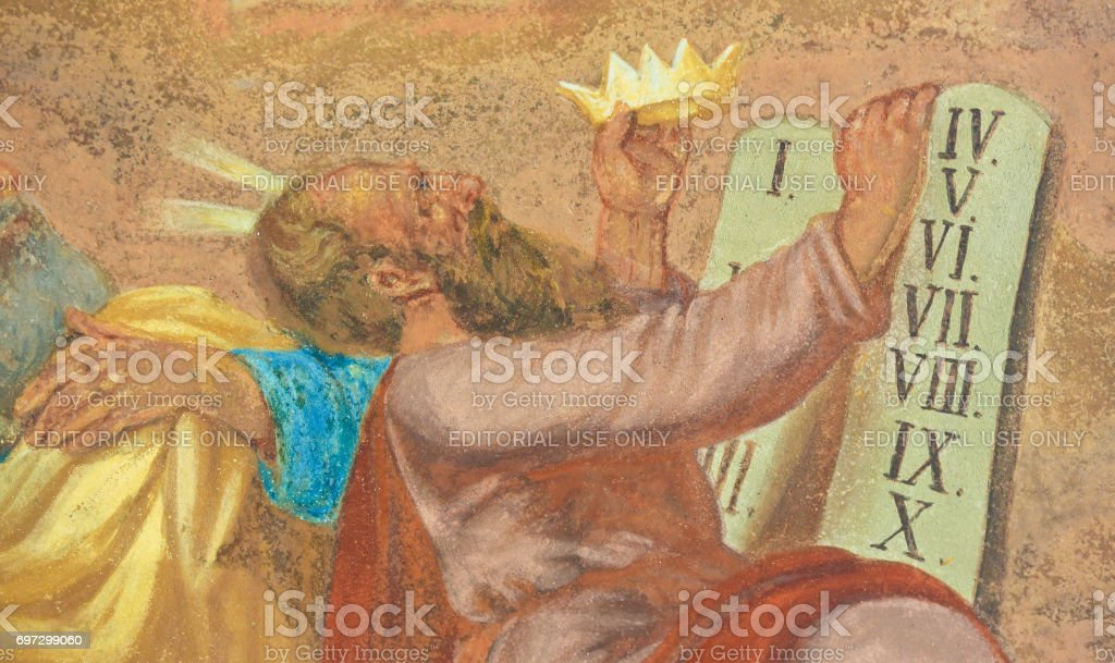 Fresco of Moses and the Ten Commandments stock photo
