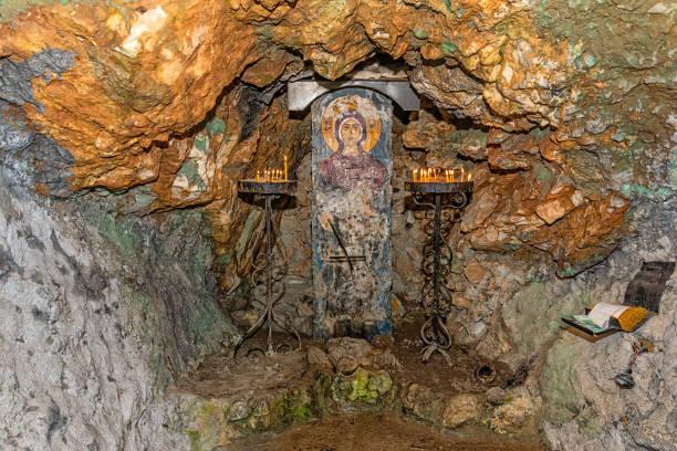 Fresco of Parascheva of the Balkans (Sveta Petka: serbian) on stone. stock photo