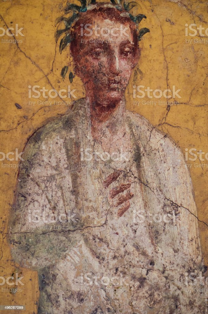 Fresco of  poet in Pompeii stock photo