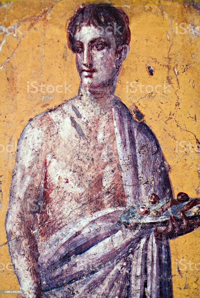 Fresco of Pompeian man stock photo