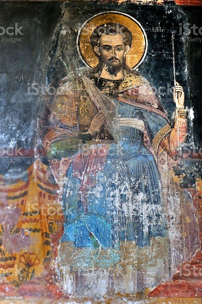 Fresco of Saint Nicholas, Curtea de Arges Monastery in Romania stock photo