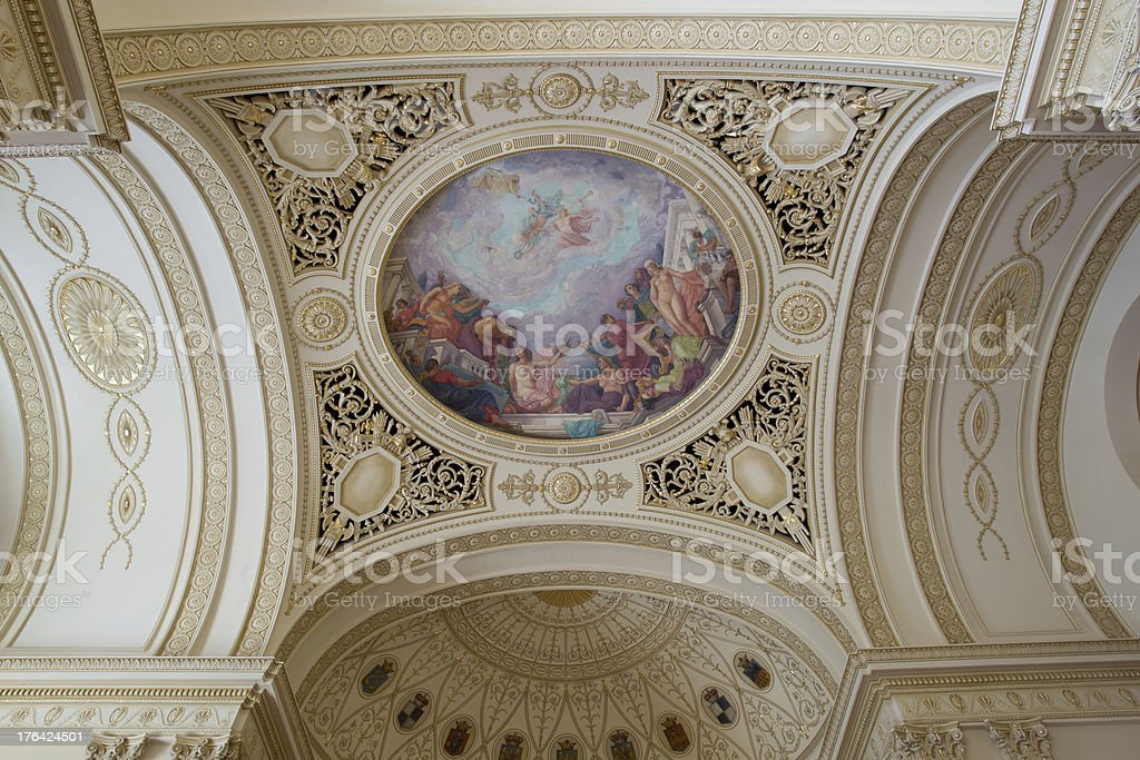 Fresco on a ceiling in the Throne Hall royalty-free stock photo