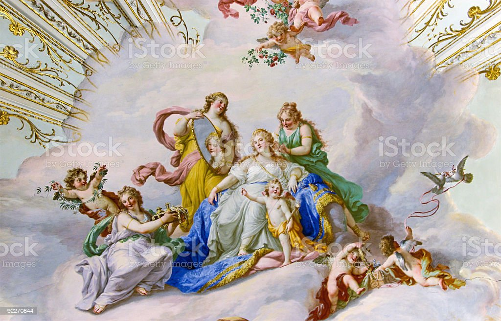 Fresco on the ceiling of  Palace stock photo