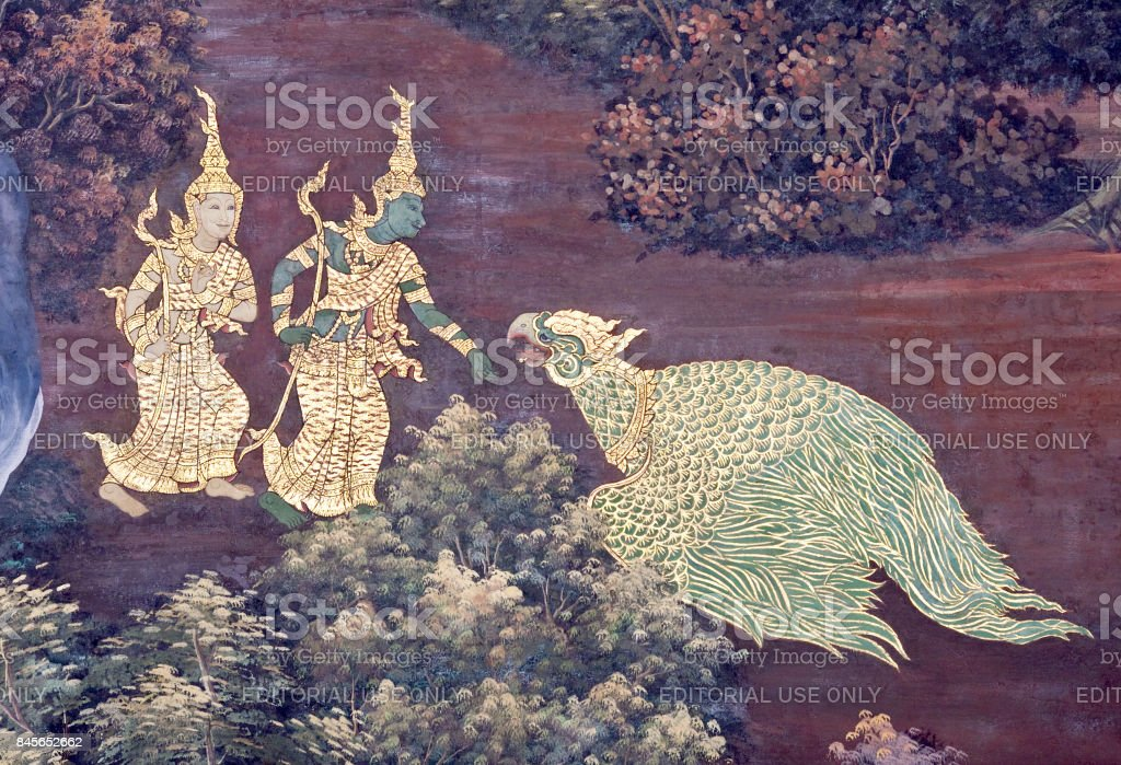 Fresco painting in Grand Palace in Bangkok, Thailand stock photo