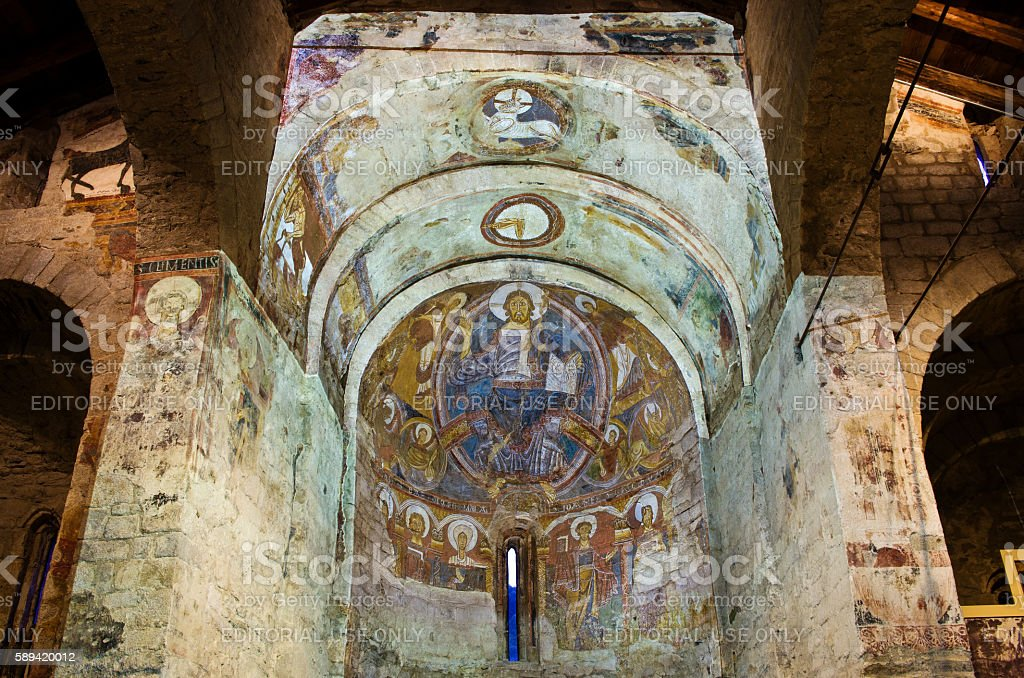 Fresco paintings in  Church Sant Climent de Taull. stock photo