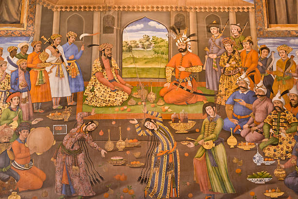 Fresco Fresco of Chehel Sotoun. Construction date of of the Fresco (1646). persian culture stock pictures, royalty-free photos & images
