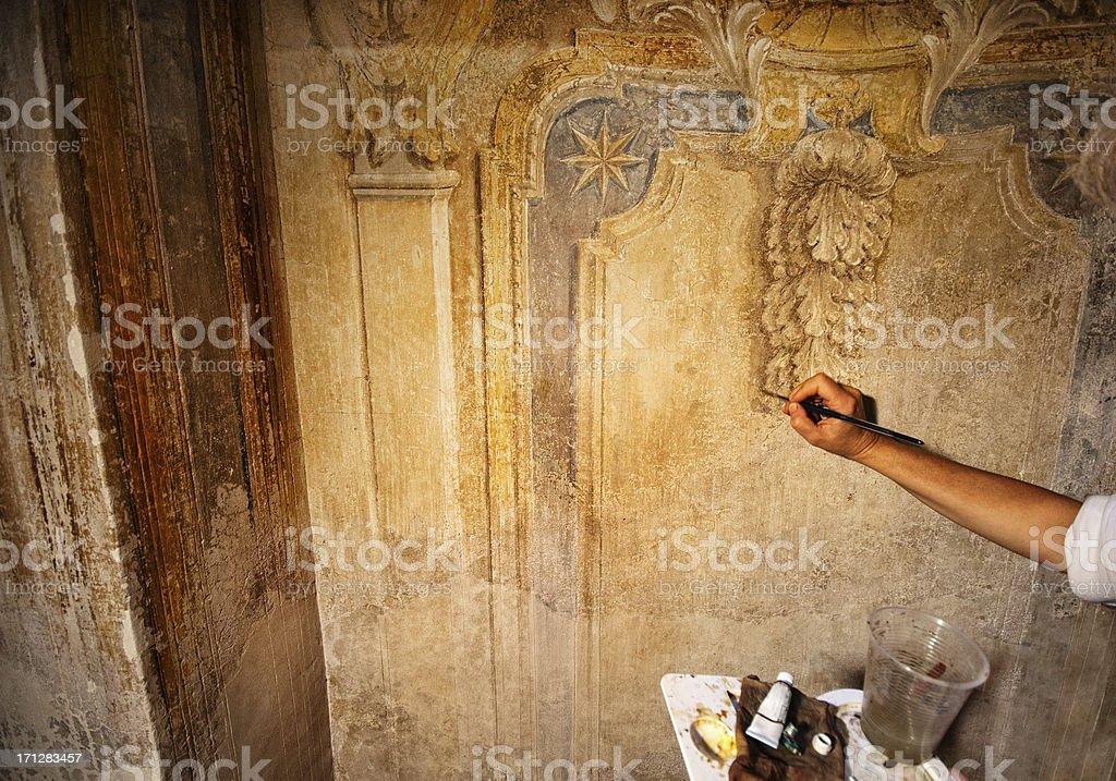 Fresco restoration royalty-free stock photo