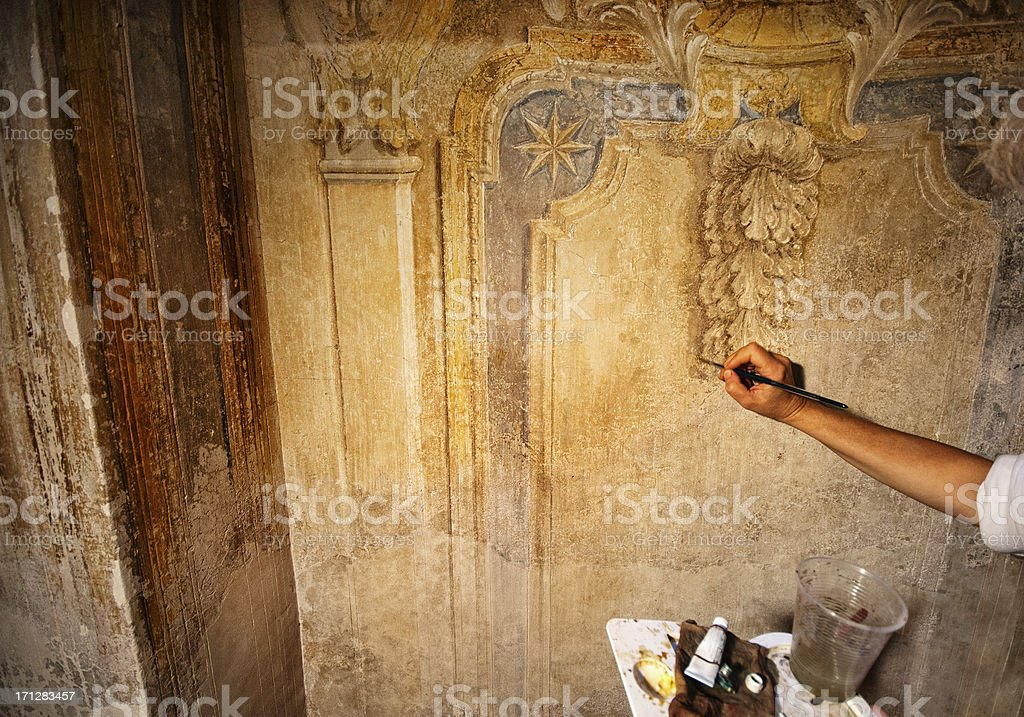 Fresco restoration stock photo