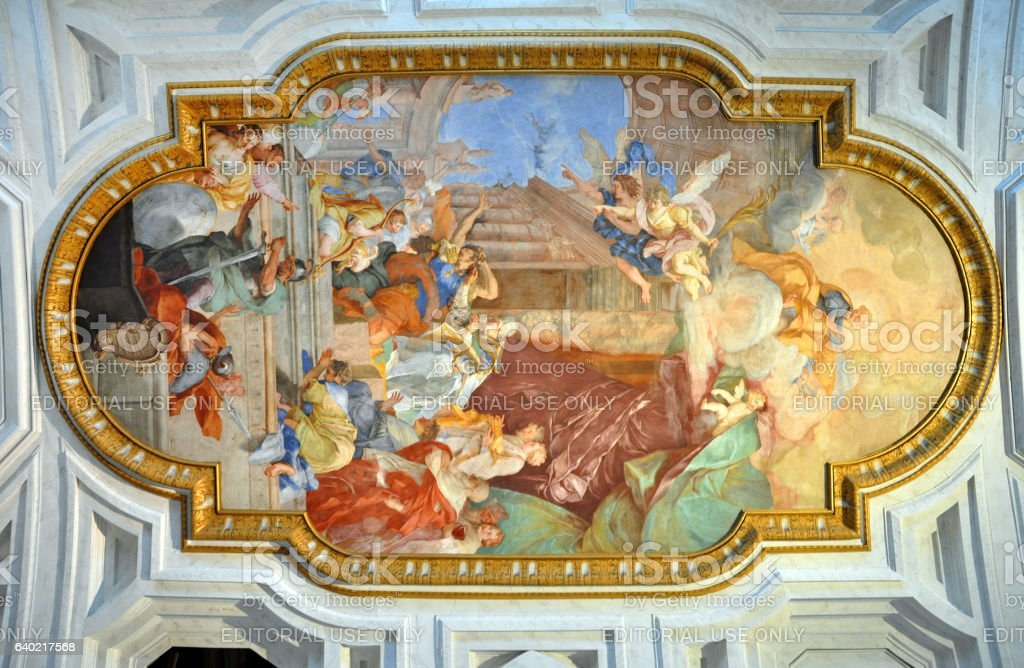 Fresco San Pietro in Vincoli church. Rome, Italy stock photo