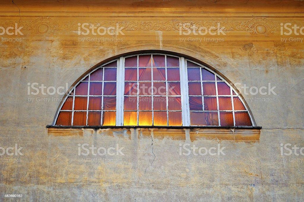 Fresco wall with Window stock photo