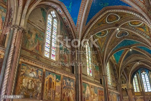 istock Frescoed ceilings and walls inside the Basilica of San Francesco, Assisi, Italy 1214561291