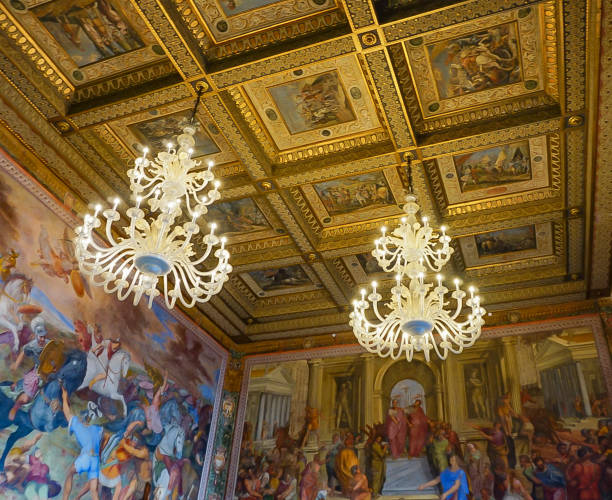 ROME, ITALY- OCTOBER 10, 2017:  Frescoes and Ornate Ceiling and Lighting in The Conservators Apartment in the Musei Capitolini stock photo