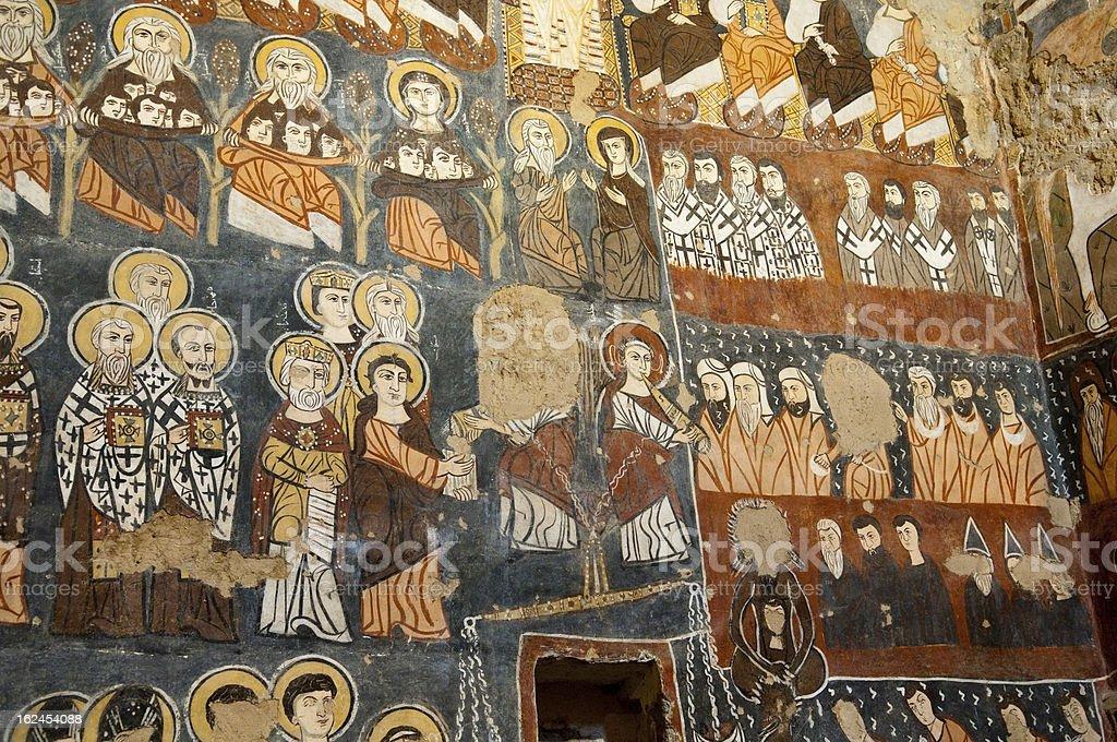 Frescoes at Syrian monastery of Deir Mar Musa stock photo