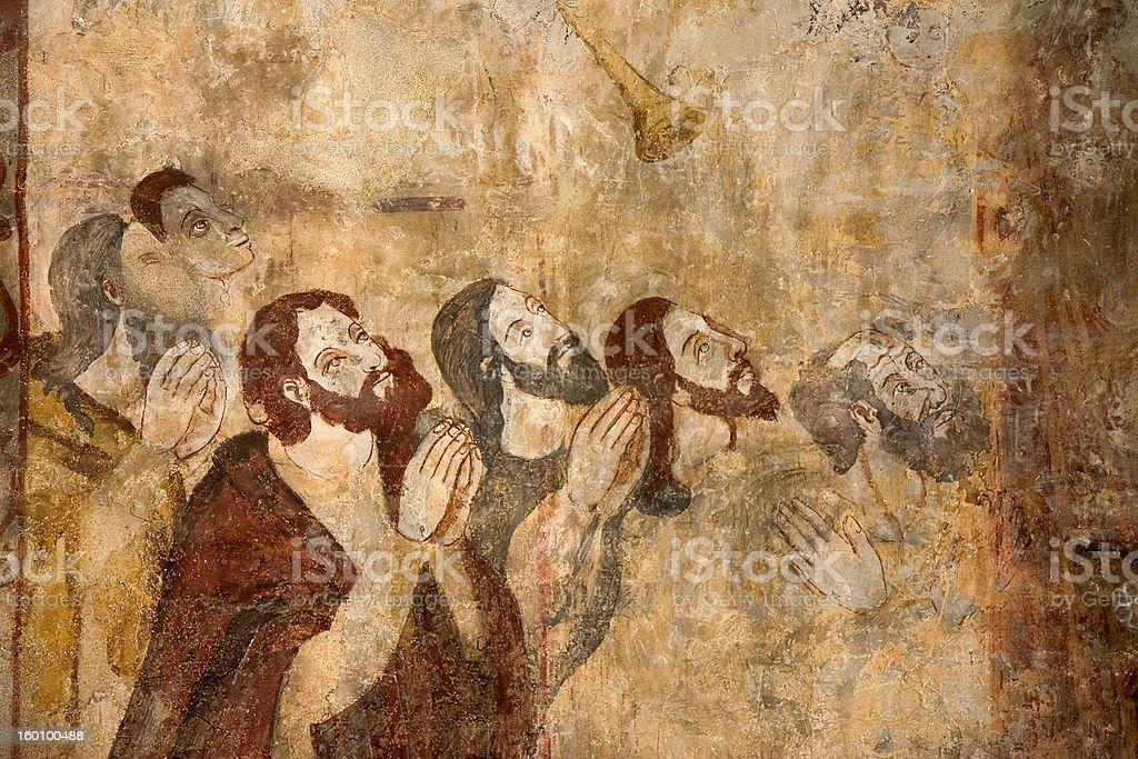Frescoes in Alquezar, Spain stock photo