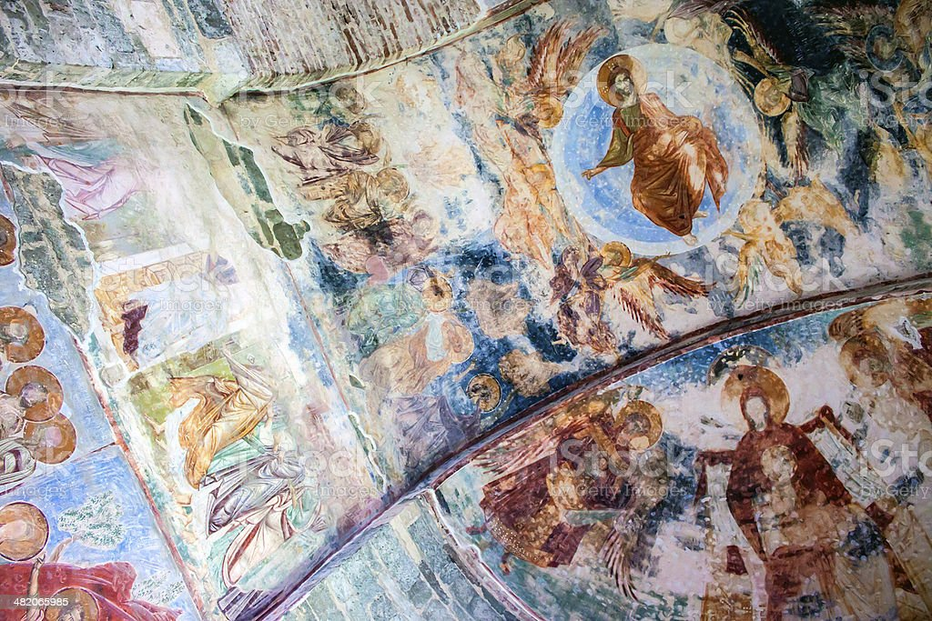 Frescoes in the church stock photo