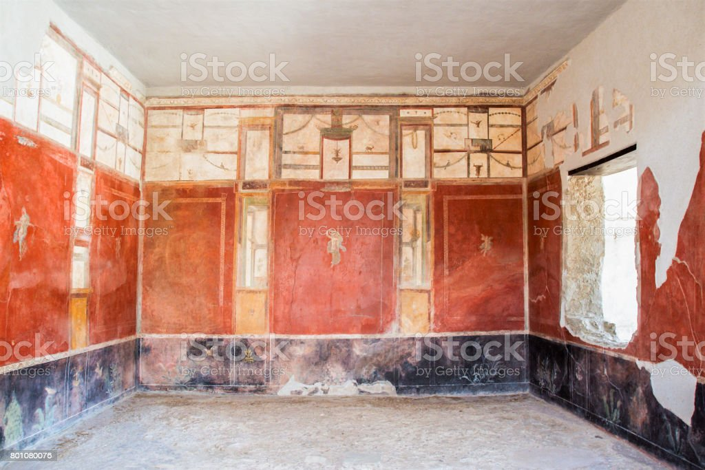 frescoes walls in Pompei archeological site - foto stock