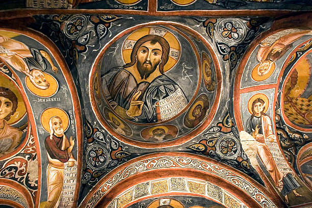fresco,rock church in Cappadocia, Turkey, Middle East stock photo