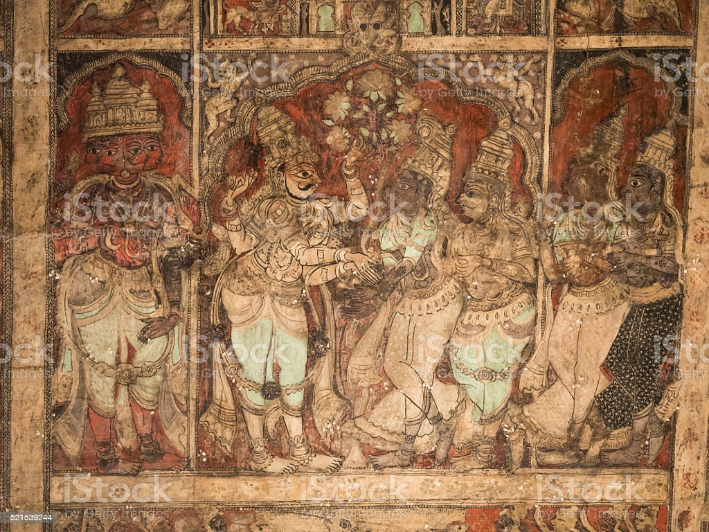 Frescos from ceiling of the Virupaksha Temple in Hampi, India stock photo