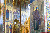 Fresco representing Jesus and the Saints in the Church of the Savior of the spilled Blood in Saint Petersburg