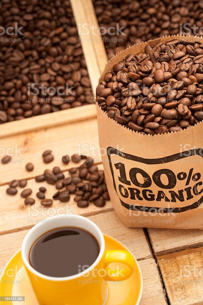 Fresh 100% organic coffee stock photo