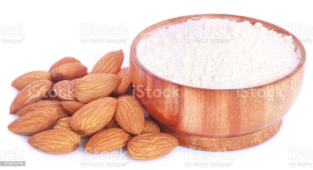 Fresh almonds with flour stock photo