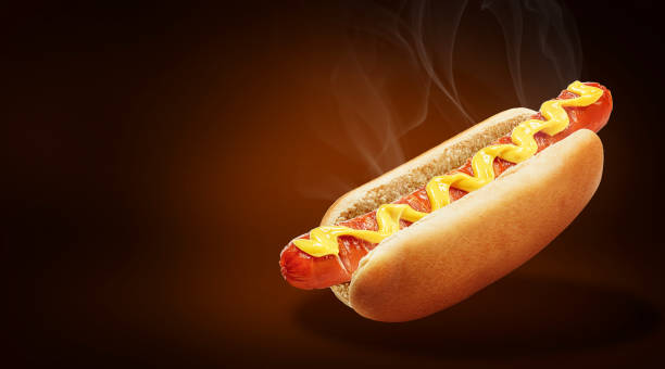 fresh american classic hot dog - hot dog stock pictures, royalty-free photos & images