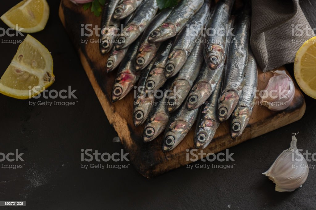 Fresh anchovies ready to Cook, stock photo