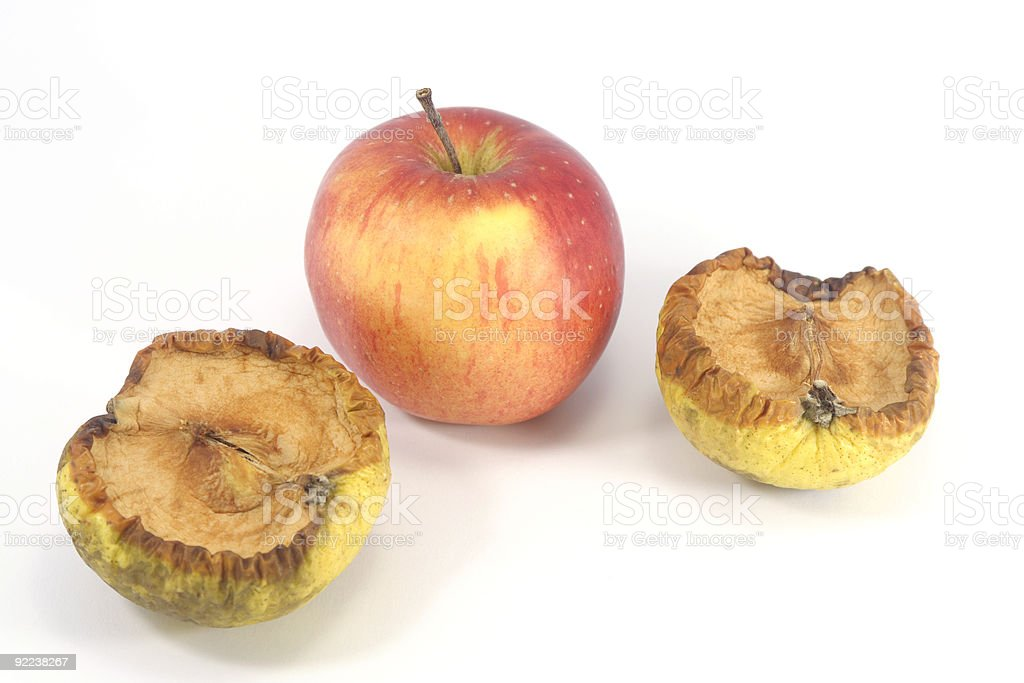 Fresh and Bad apple royalty-free stock photo