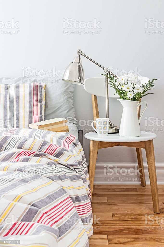 Fresh and bright bedroom decor stock photo