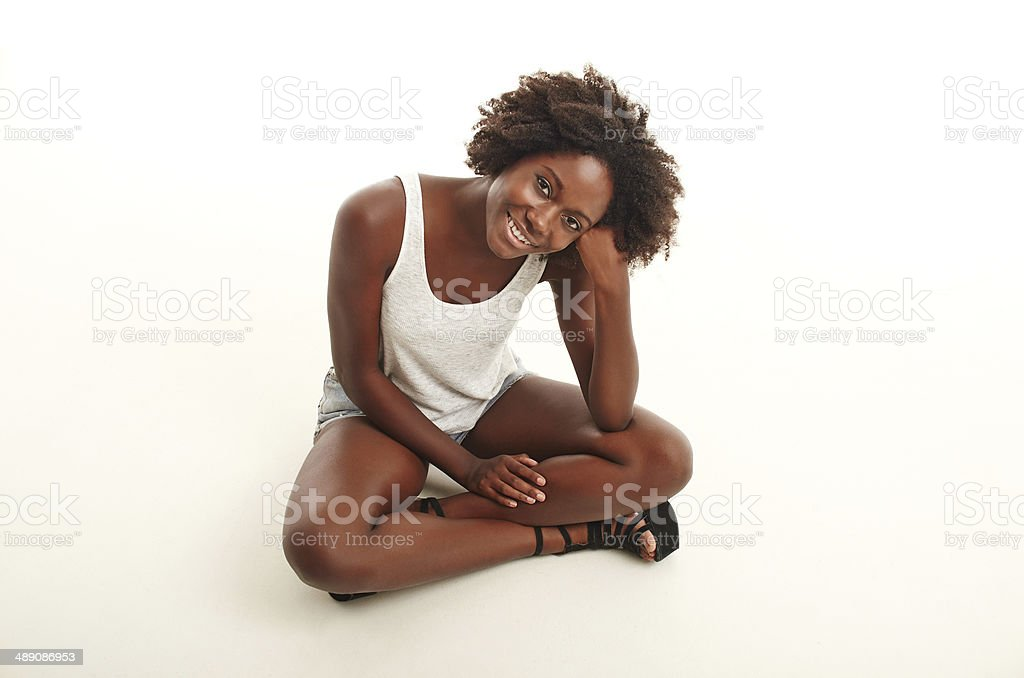 Fresh and carefree A young woman against a white background 18-19 Years Stock Photo