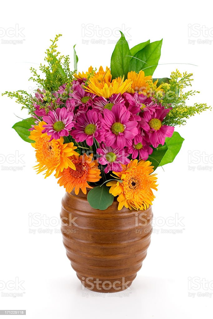 Fresh and colorful bouquet in wooden case stock photo