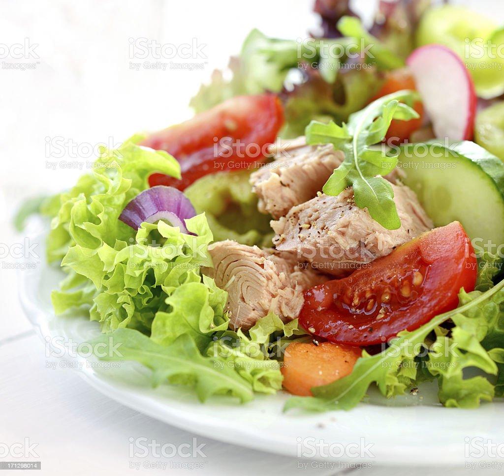 A fresh and colorful tuna salad stock photo