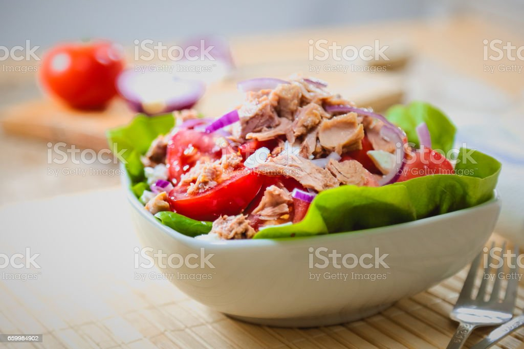 Fresh and colorful tuna salad stock photo
