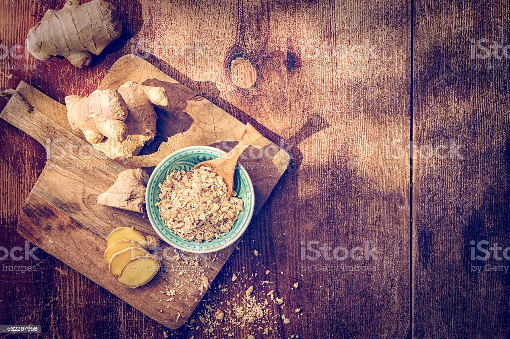 Fresh and Dried Ginger Spice stock photo
