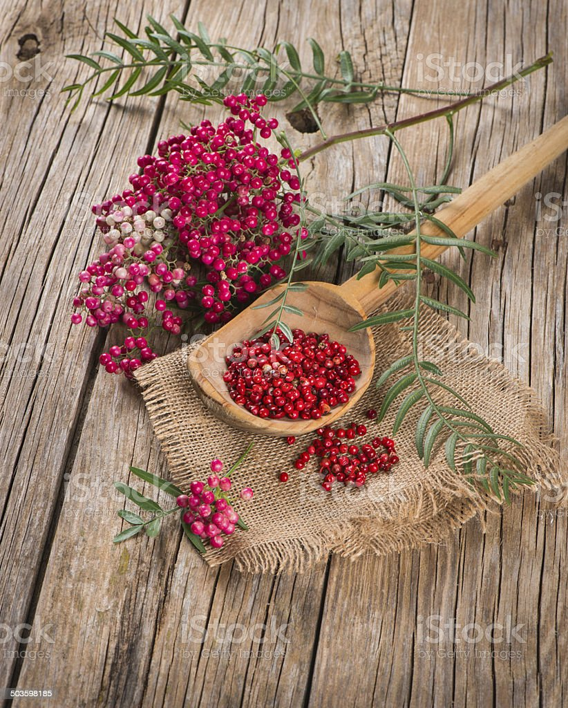 fresh and dried pink pepper stock photo