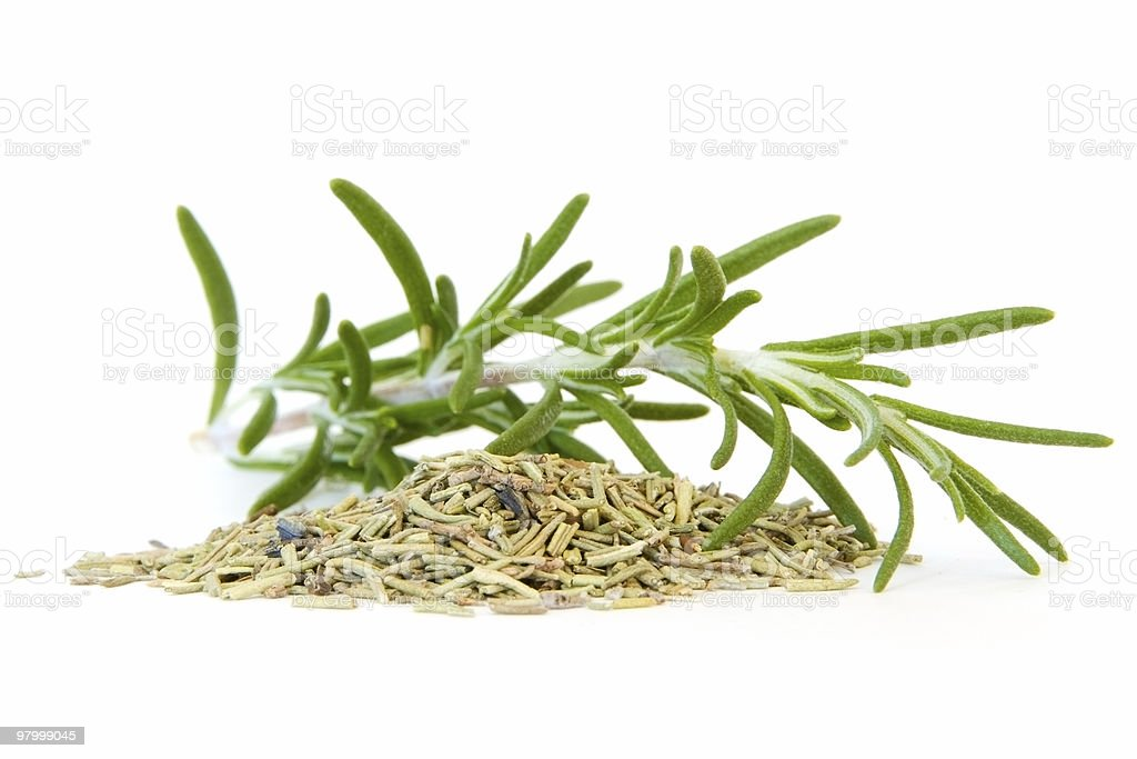 Fresh and dried rosemary on white stock photo